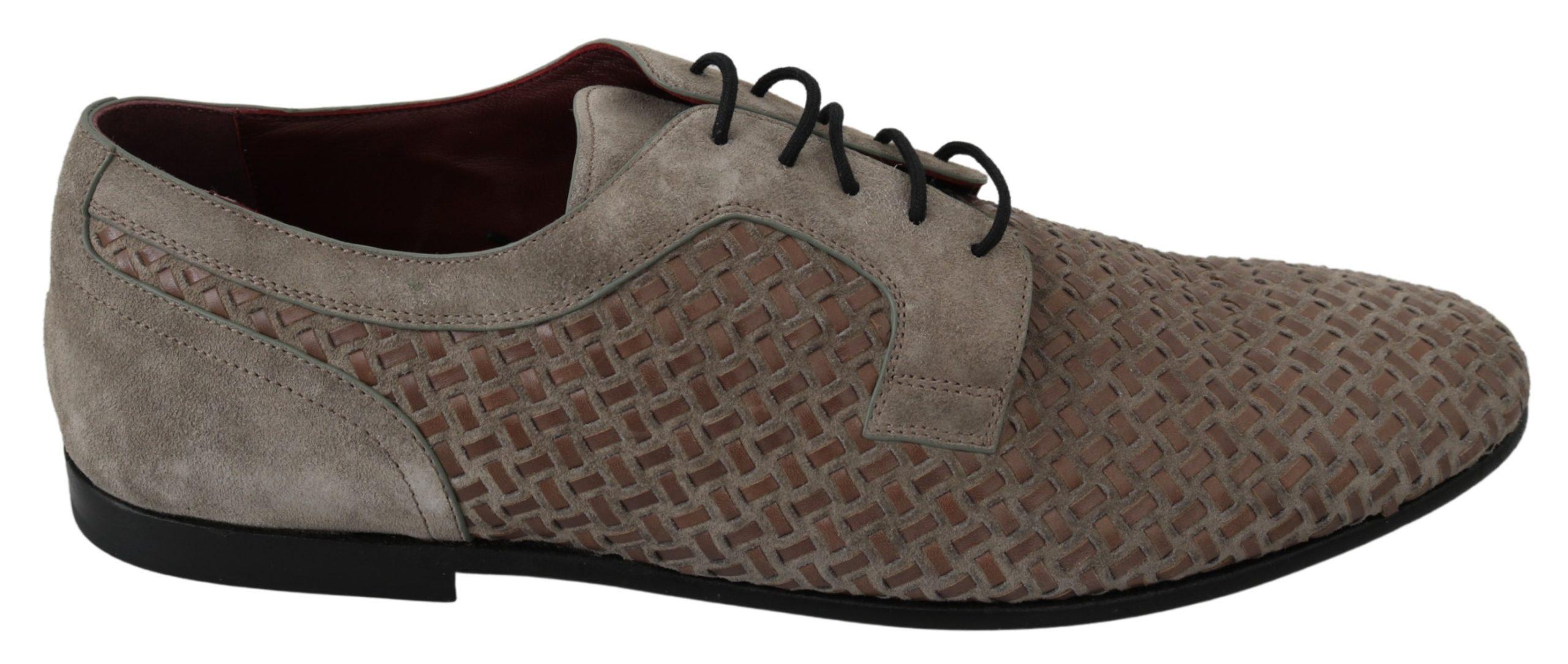 Dolce & Gabbana Men's Leather Suede Derby Shoe Brown MV3052 - EU44/US11
