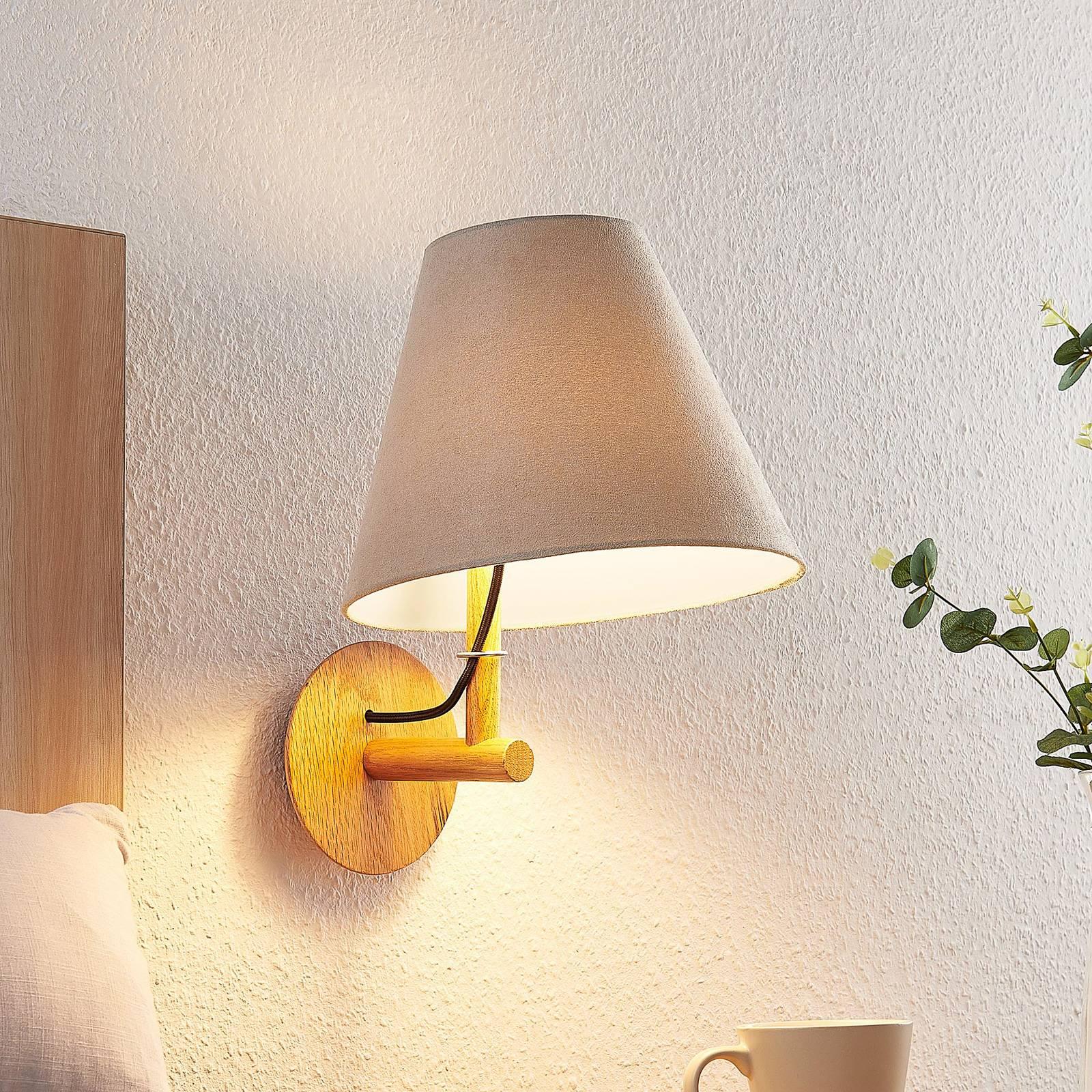 Lucande Jinda -seinälamppu, puurunko, sametti
