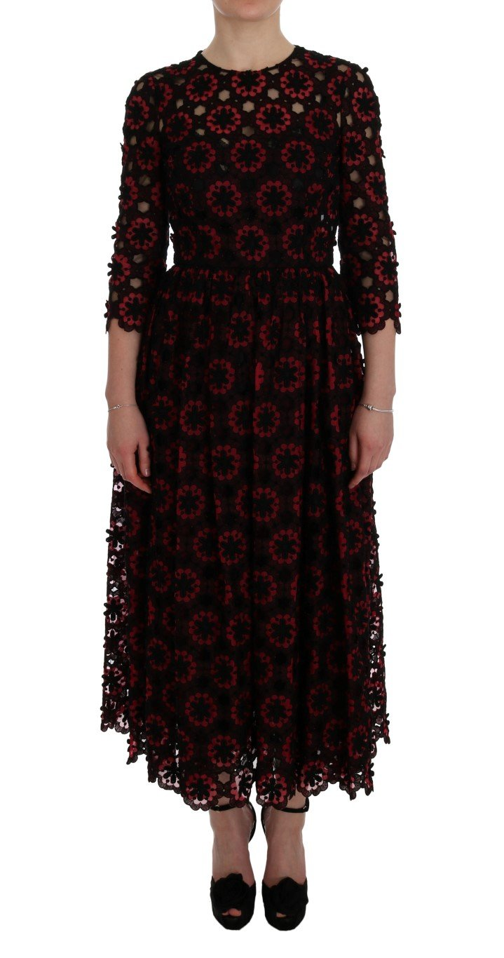 Dolce & Gabbana Women's Floral Ricamo A-Line Shift Dress Red SIG50853 - IT40|S