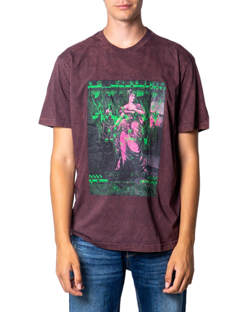Diesel Men's T-Shirt Various Colours 175468 - bordeaux-3 L