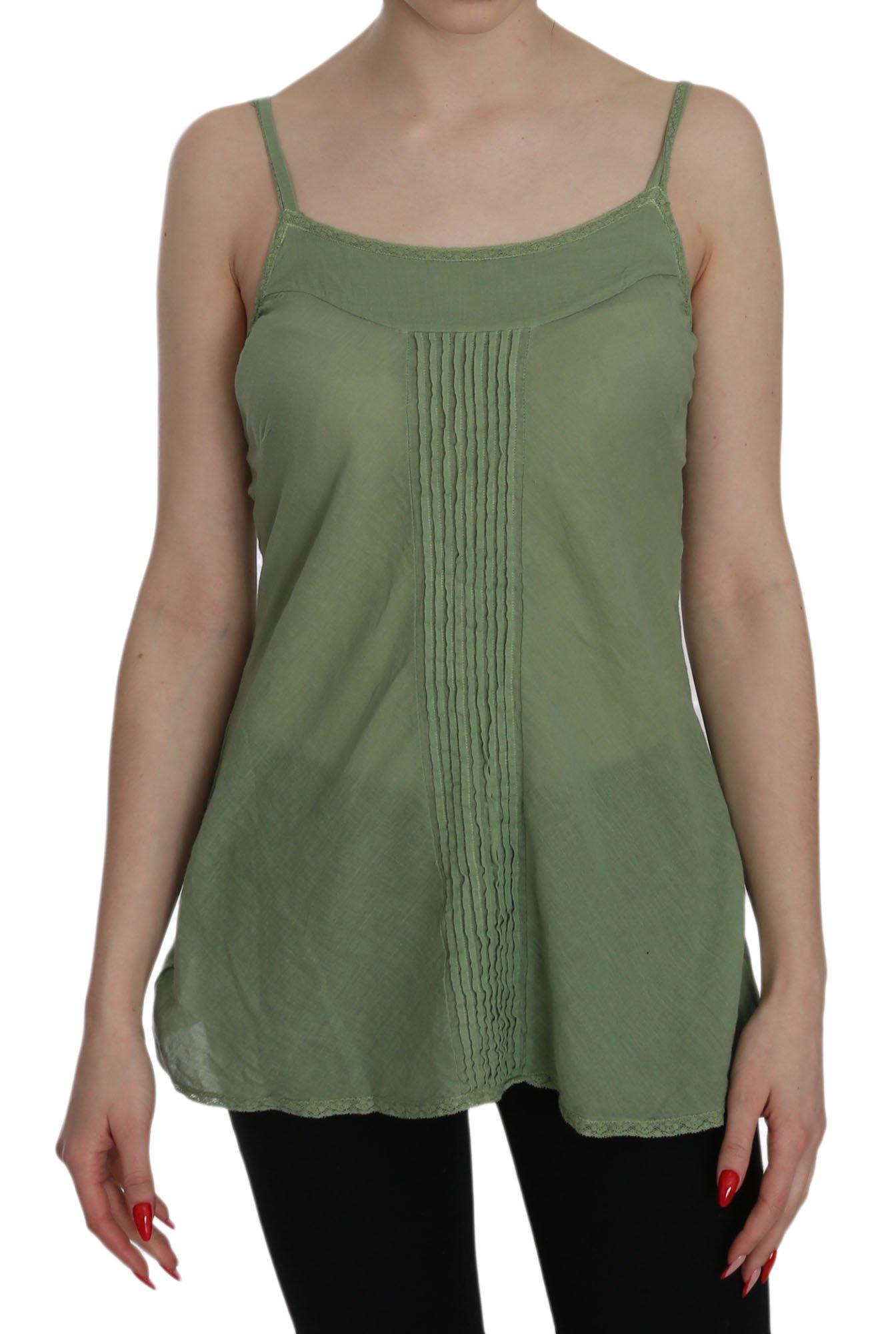 PINK MEMORIES Women's Silk Spaghetti Strap Tank Top Green TSH3441 - IT42|M