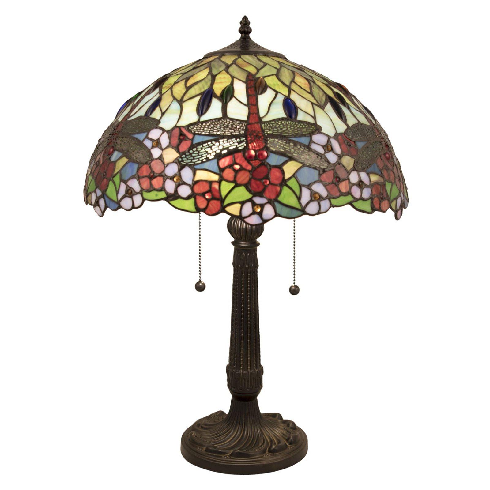5947 bordlampe med fargerik glasskjerm