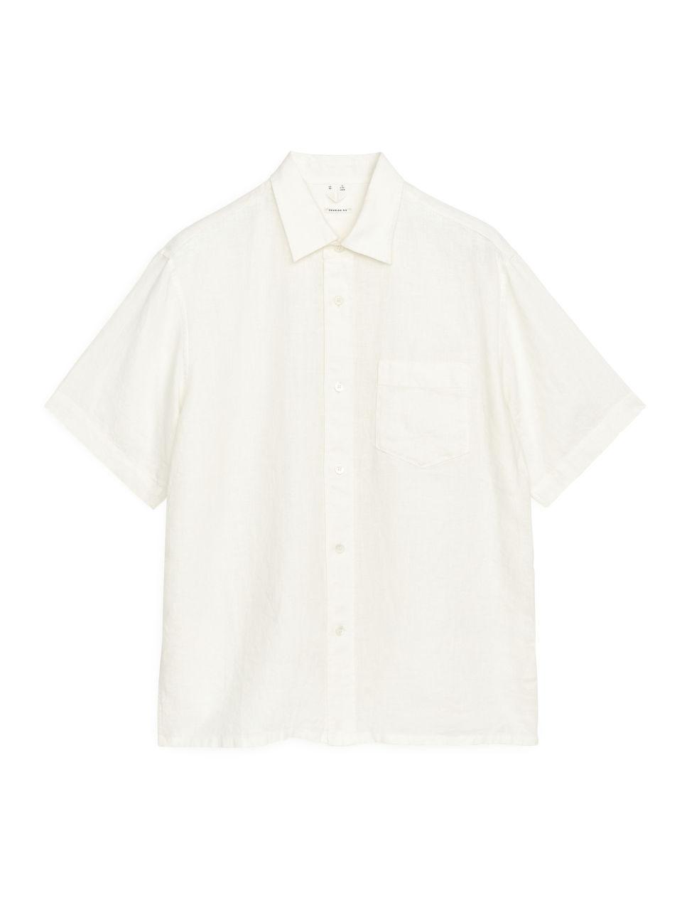Short-Sleeved Linen Shirt - White