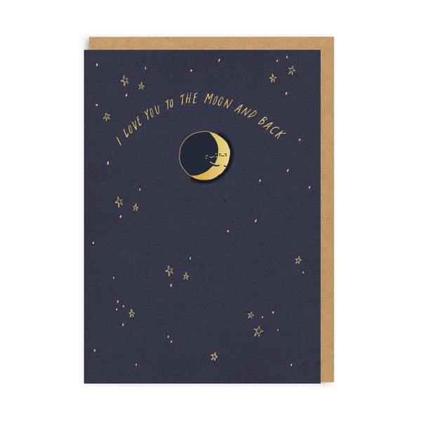 Moon And Back Enamel Pin Greeting Card