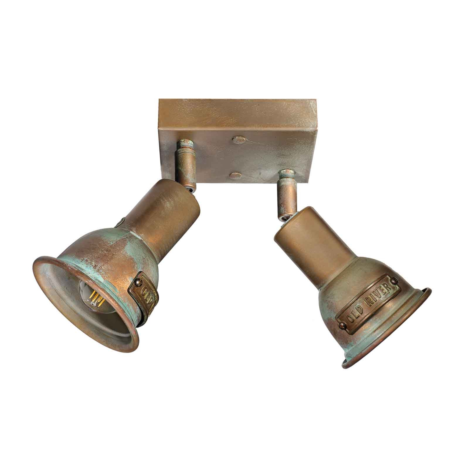 Azali 1423.E27 taklampe 2 lyskilder antikk messing