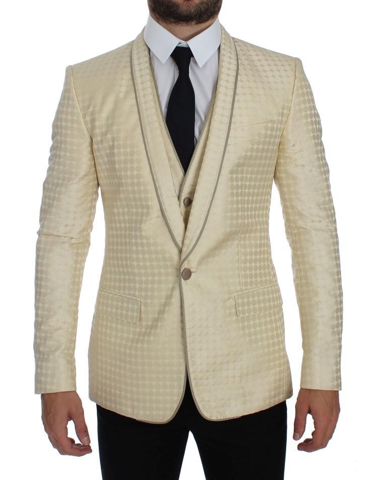Dolce & Gabbana Women's Polka Dot Silk Piece Blazer Beige GTT10086 - IT44 | XS