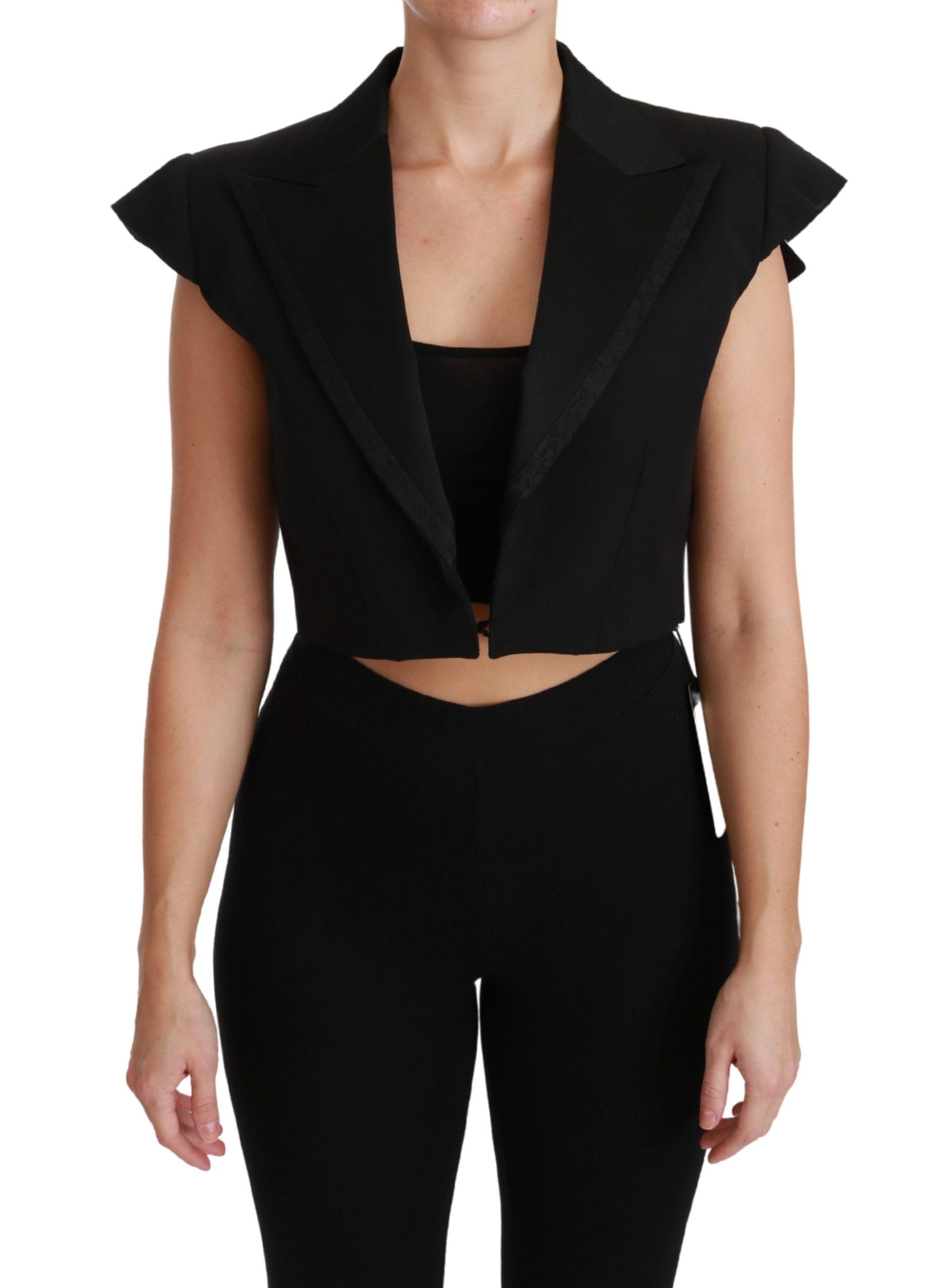 Dolce & Gabbana Women's Sleeveless Cropped Wool Blazer Black JKT2568 - IT40|S
