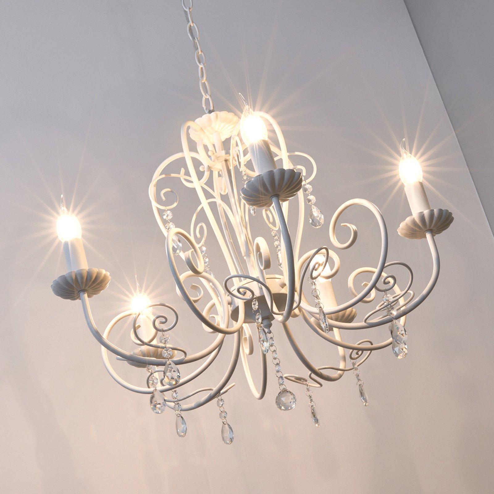 Sophina vakker hvit lampe med krystallanheng