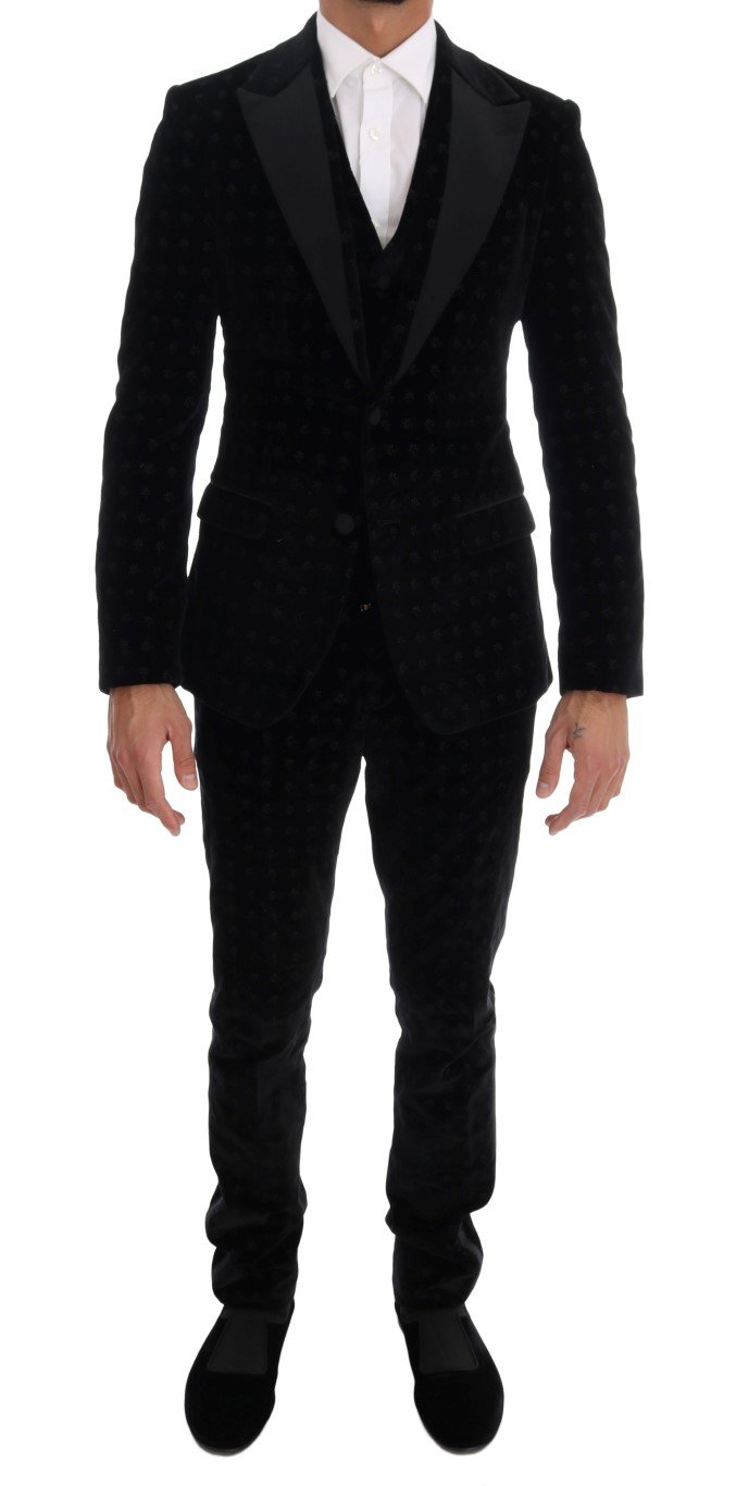 Dolce & Gabbana Men's Slim Floral Embroidered Suit Beige KOS1130 - IT44 | XS