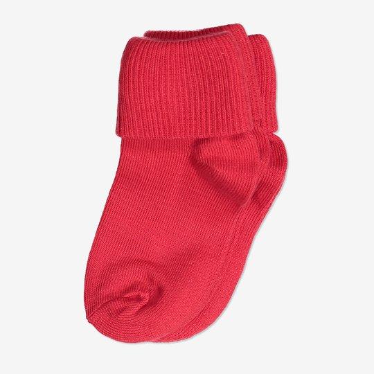 2-pakning ensfargede sokker baby rød
