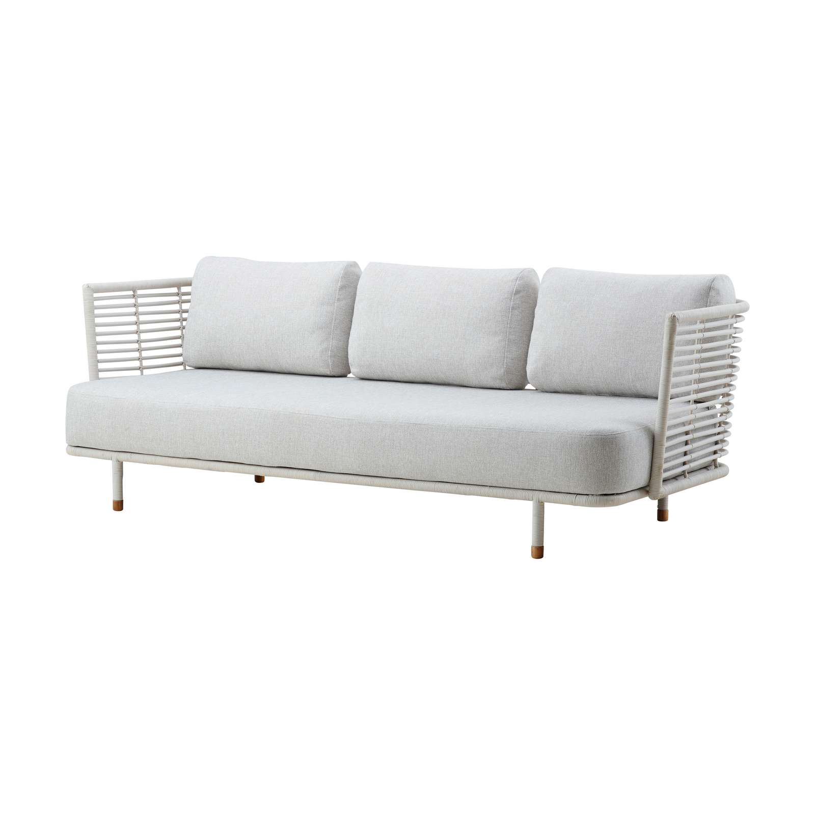 Sense 3 pers soffa vit/grå rotting, Cane-line