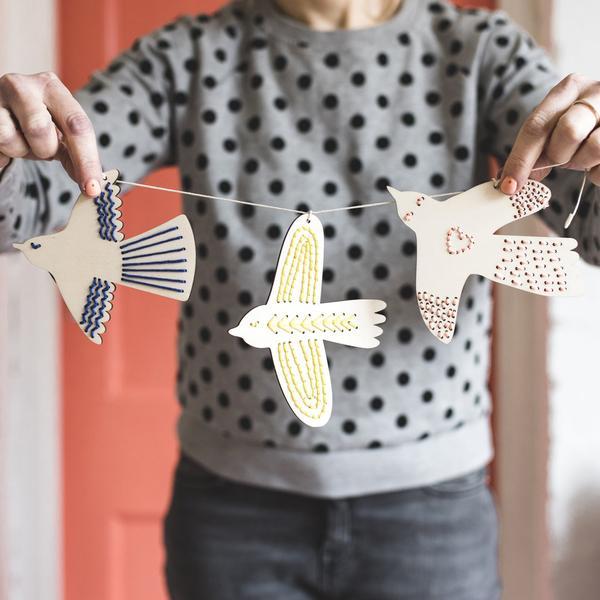 Wooden Bird Embroidery Kit