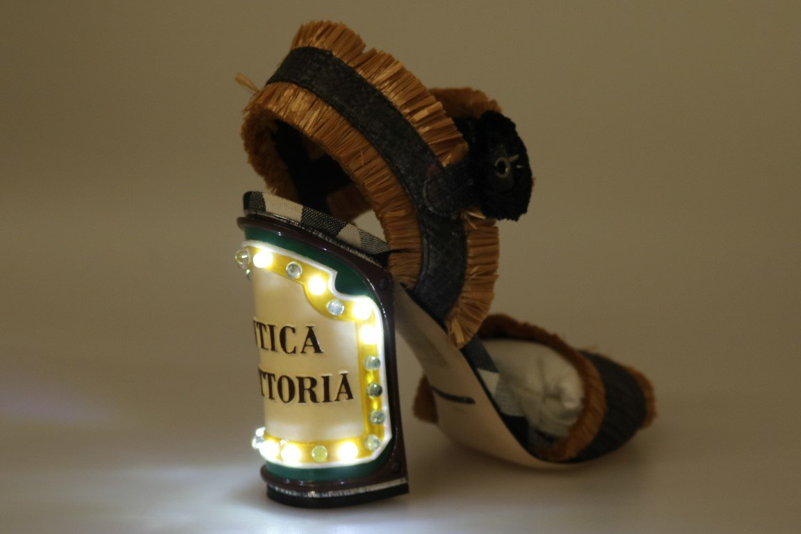 Dolce & Gabbana Women's LED Lights Antica Trattoria Sandals Beige LA4200 - EU40/US9.5
