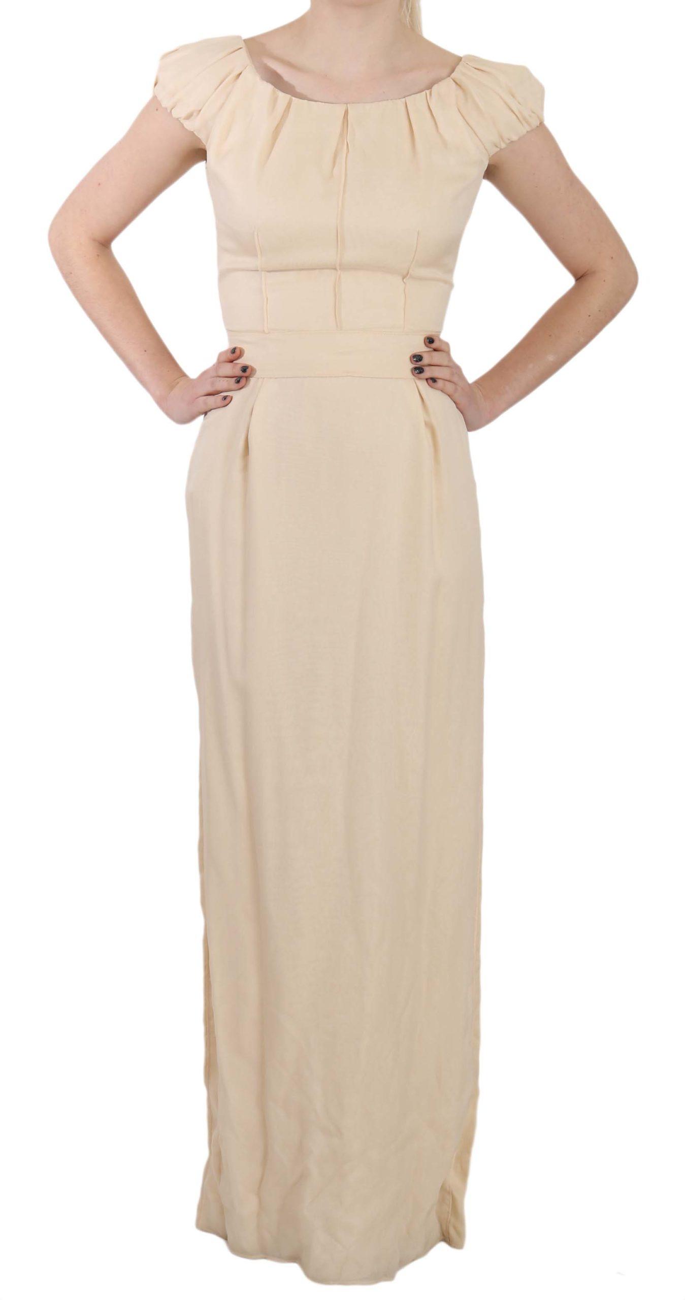 Dolce & Gabbana Women's Silk Column Cap Sleeve Dress Beige DR1683 - IT40 S