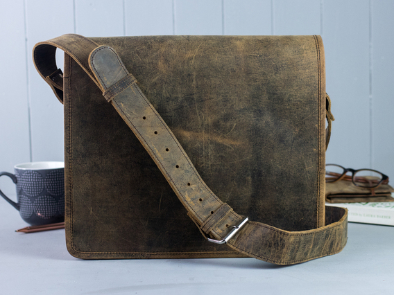 Boys And Girls Small Wide Leather Messenger Bag 13 Inch Brown 13 Inch