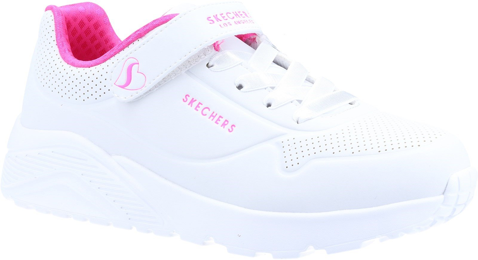 Skechers Kid's Uno Lite Sports Trainer Various Colours 32097 - White Synthetic/H. Pink Trim 10.5