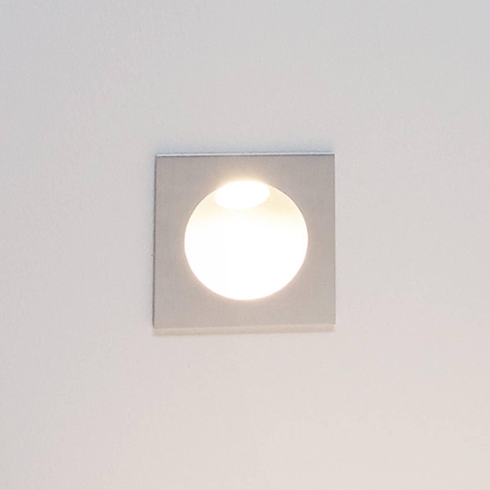 LED-innfelt vegglampe Zarate, sølv