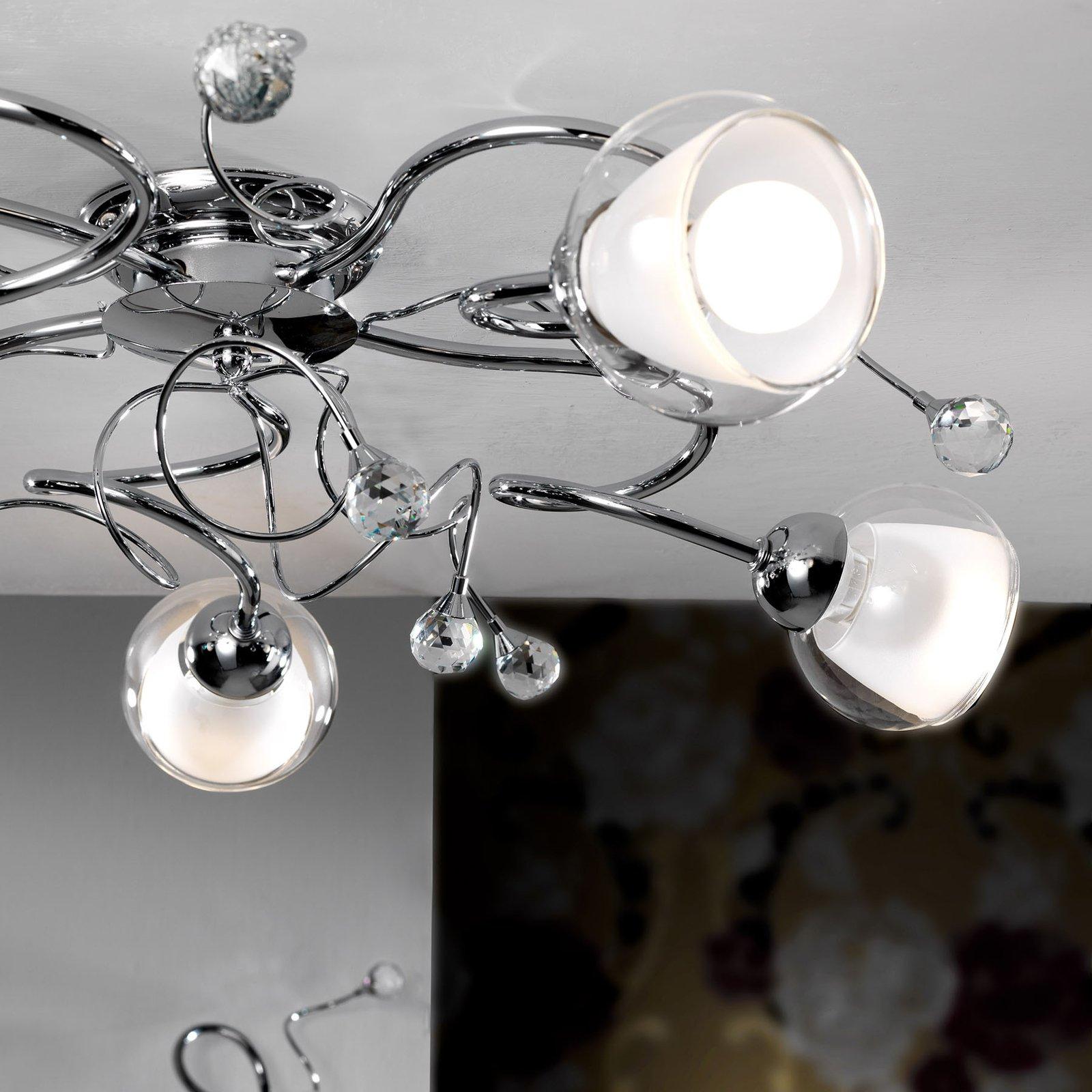 Taklampe Wendy med glasskjerm, 5 lyskilder
