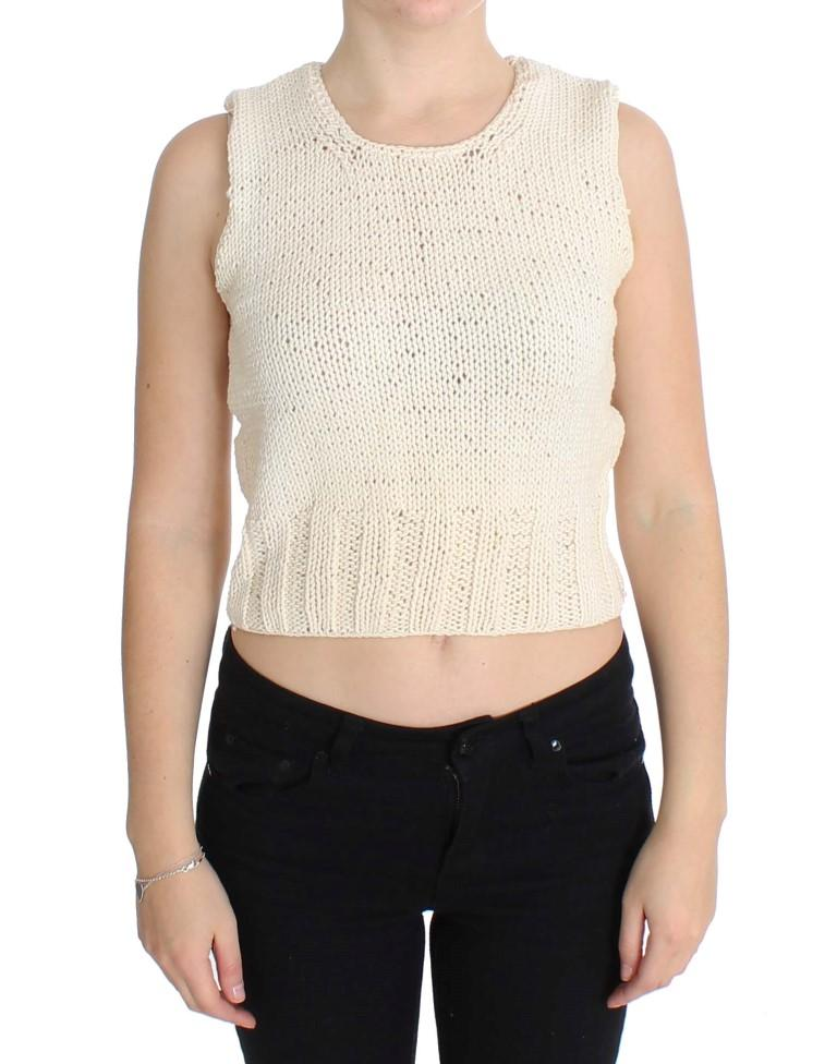 Pink Memories Women's Knitted Sleeveless Sweater Beige SIG30253 - One Size