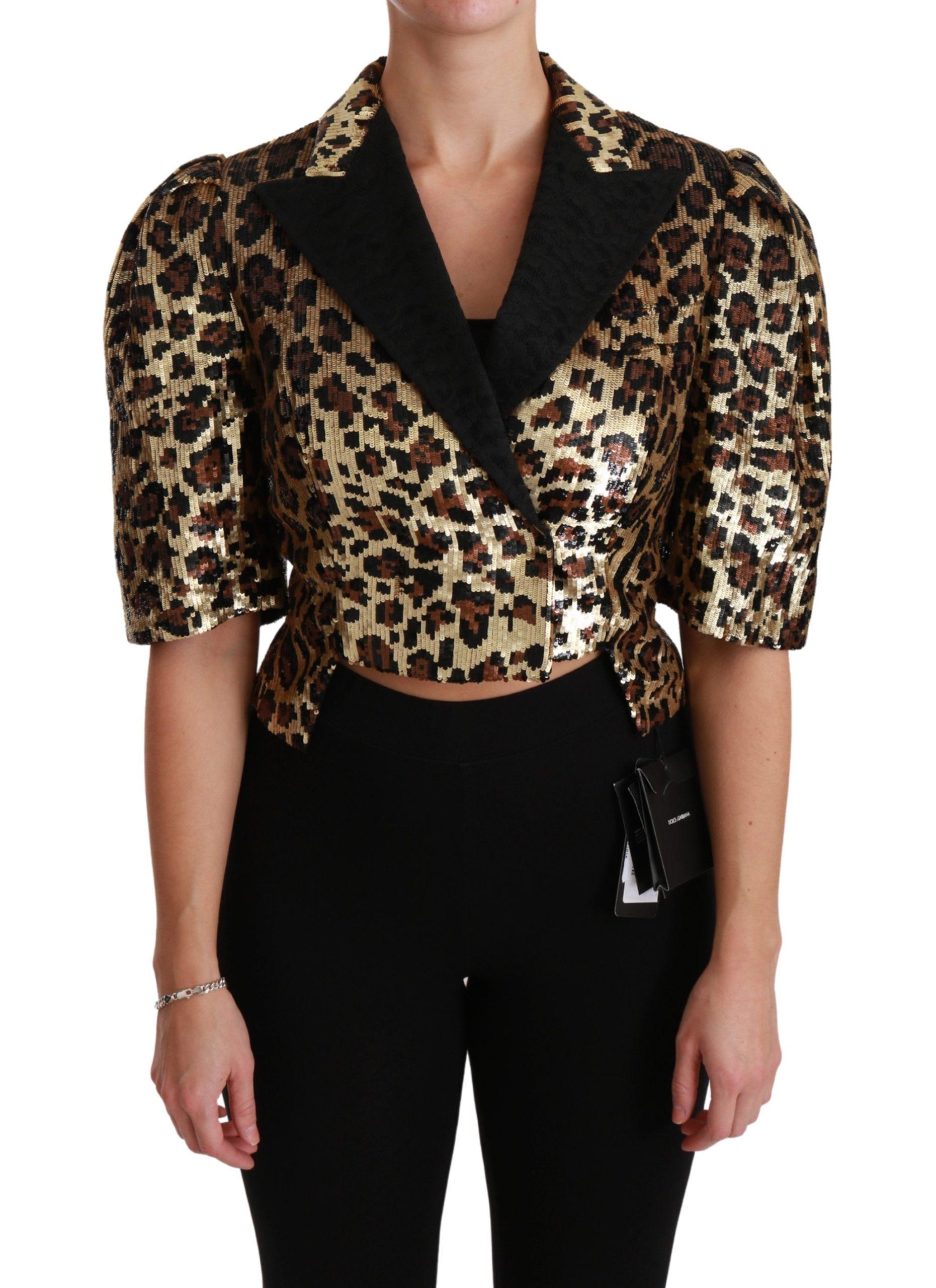 Dolce & Gabbana Women's Leopard Sequined Jacket Yellow JKT2564 - IT36   XS