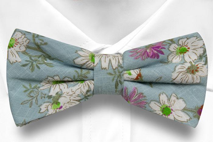 Bomull Sløyfer Knyttede, Hvite & lilla blomster på turkis