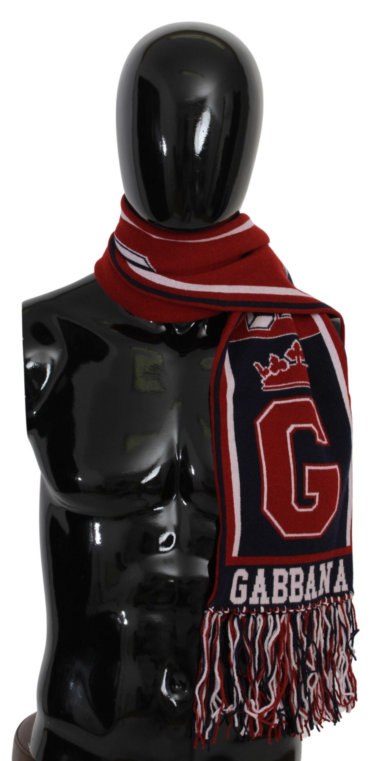 Dolce & Gabbana Men's DG Crown Fringe Wrap Scarf Red MS1680