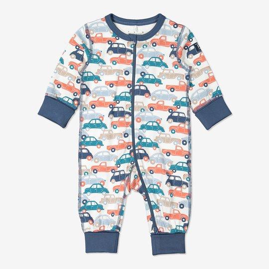 Hel pyjamas med biltrykk baby blå