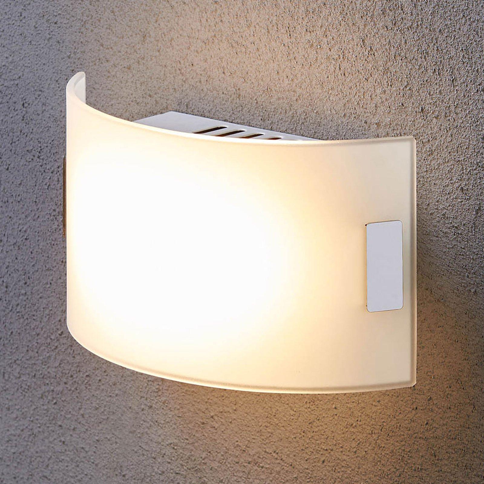 Hvit vegglampe i glass Gisela med LED-lys
