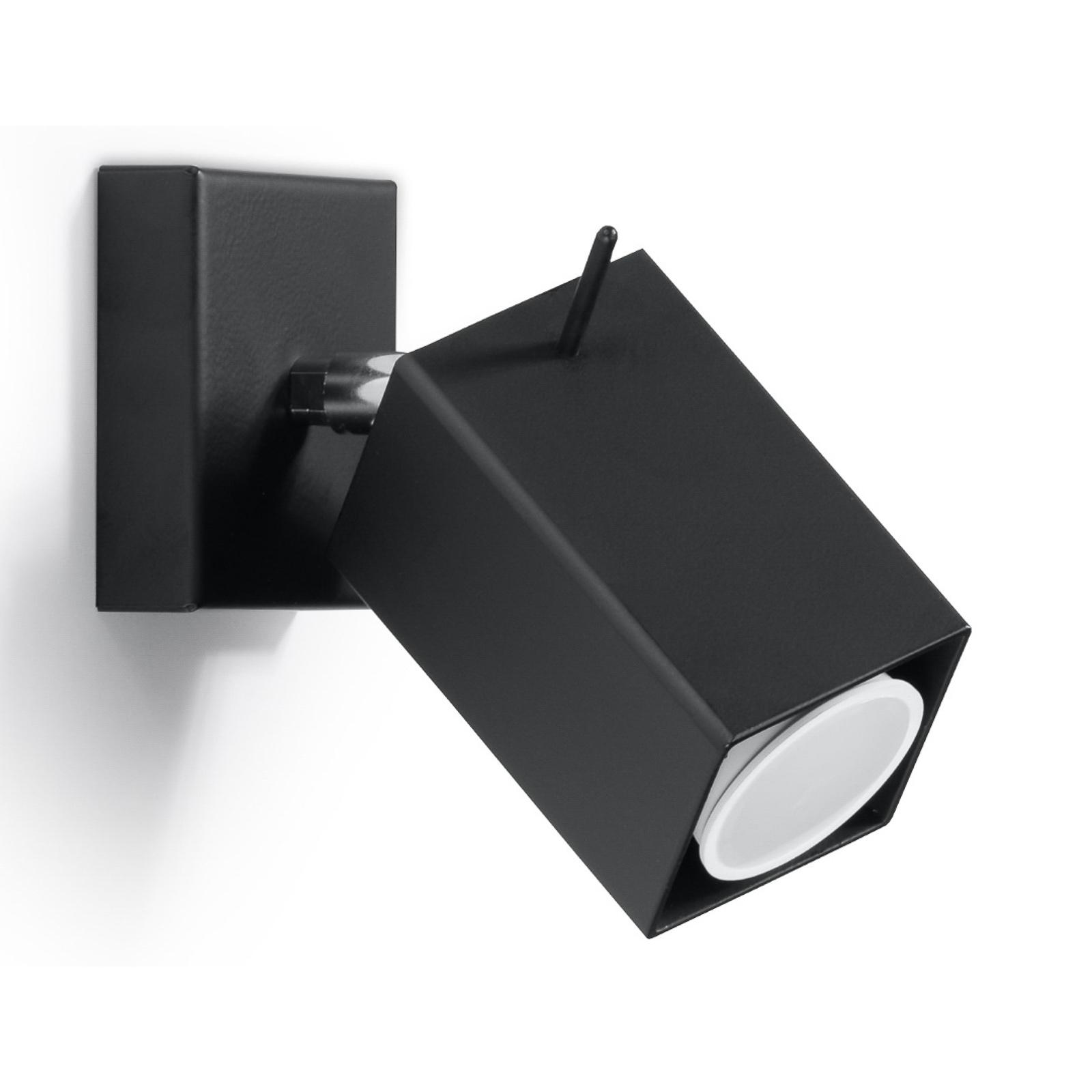 Seinäkohdevalaisin Square, musta, yksilamppuinen