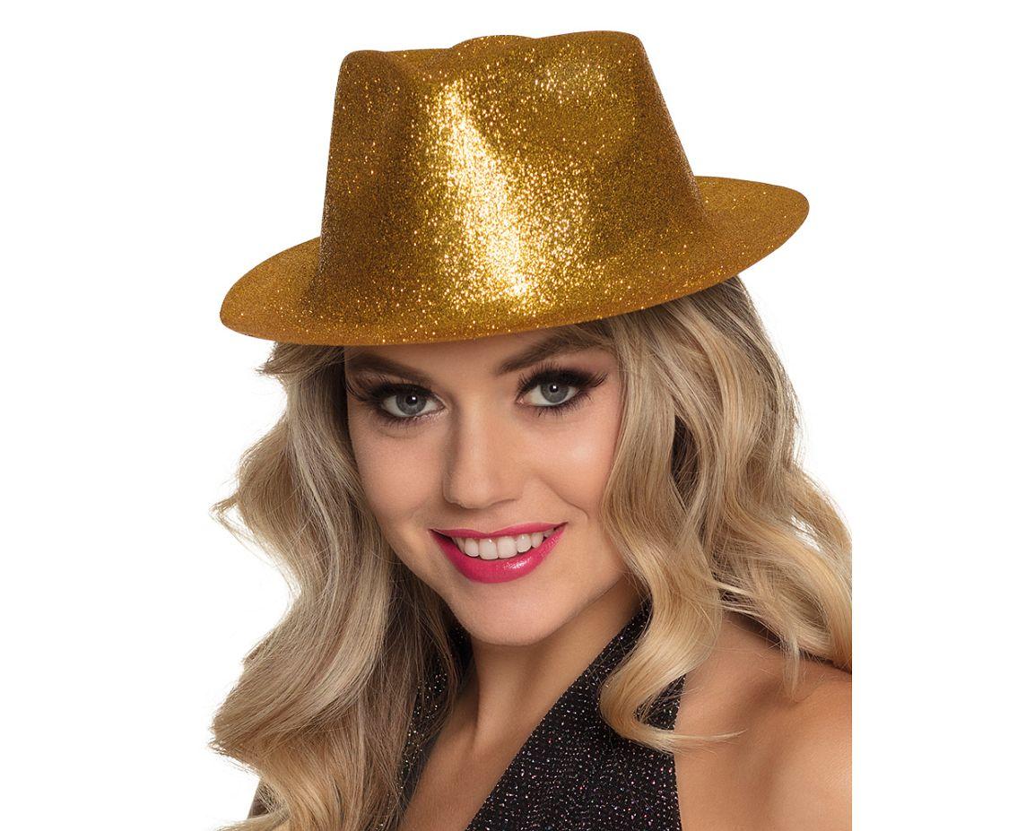 Glitterhatt guld formad