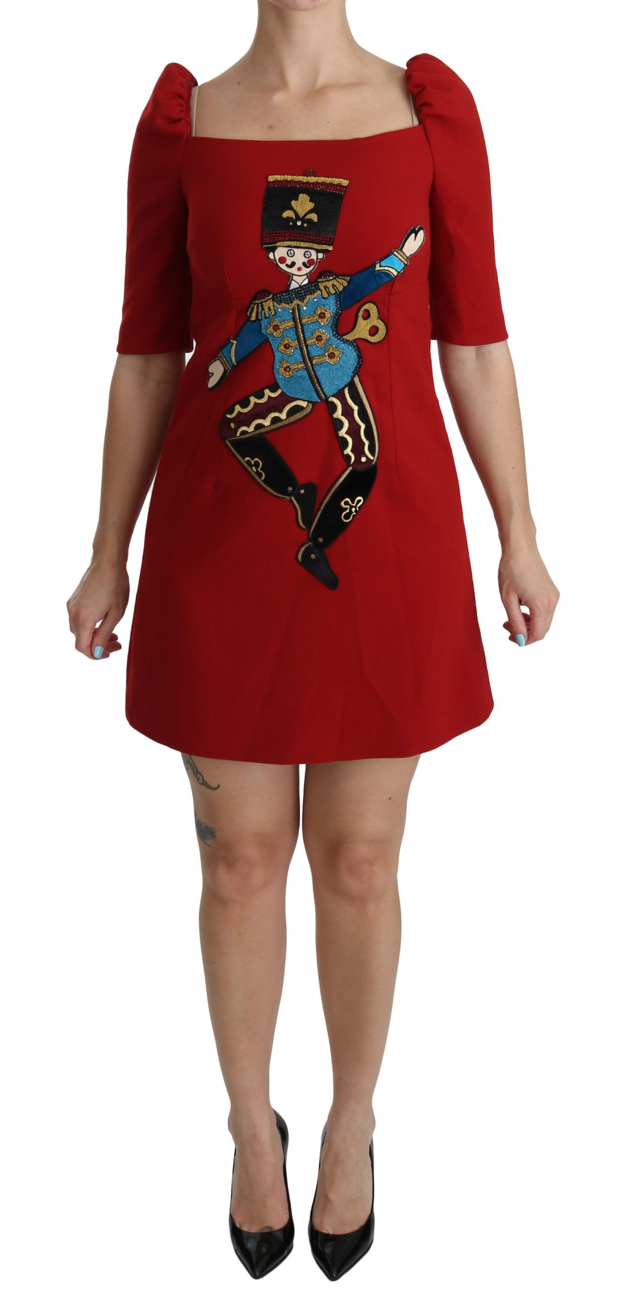 Dolce & Gabbana Women's Sequined Toy Shift A-line Dress Red DR2047 - IT42|M