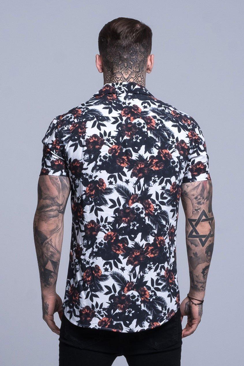 All Over Tropic Skull Print Resort Men's Shirt - White, Small