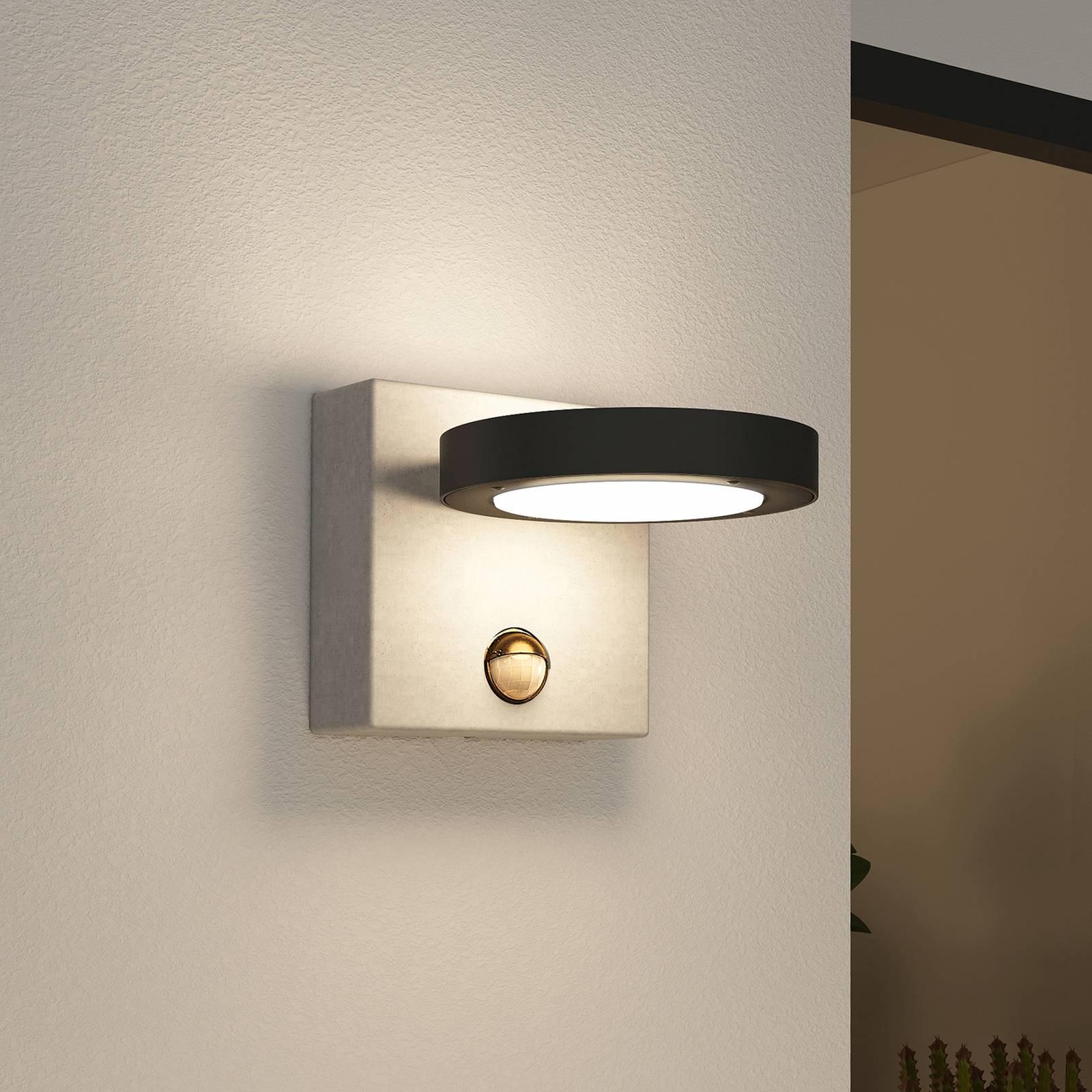 Lucande Belna -LED-ulkoseinälamppu betonia, anturi