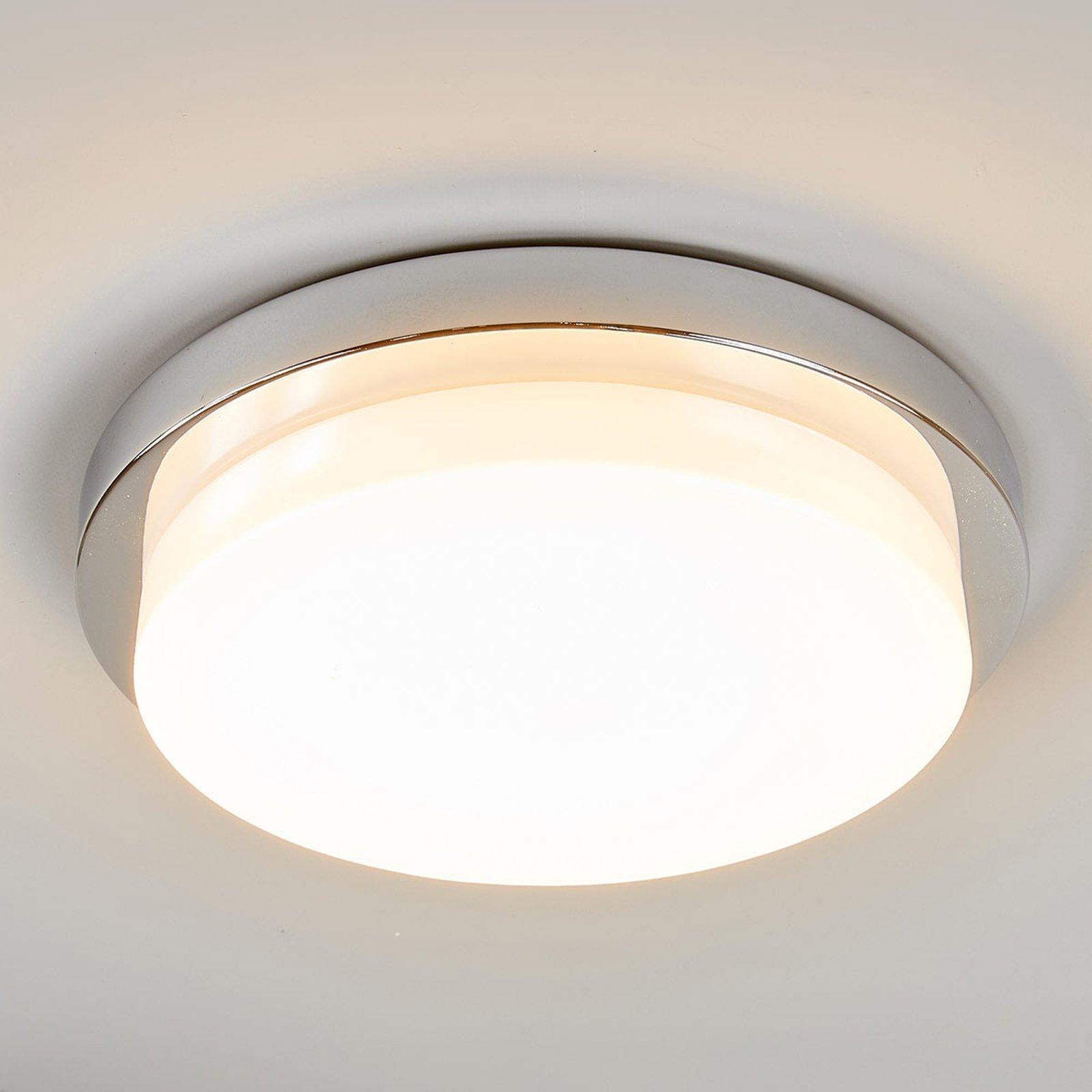 LED-taklampe i blank krom Cordula, IP44