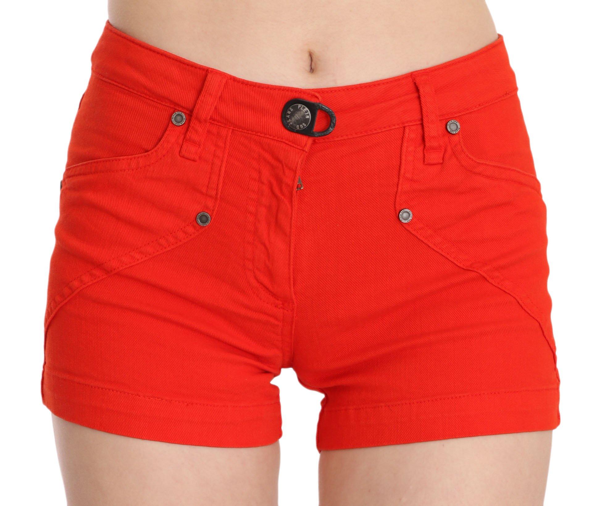 PLEIN SUD Women's Mid Waist Cotton Denim Mini Short Orange PAN70251 - IT36 | XS