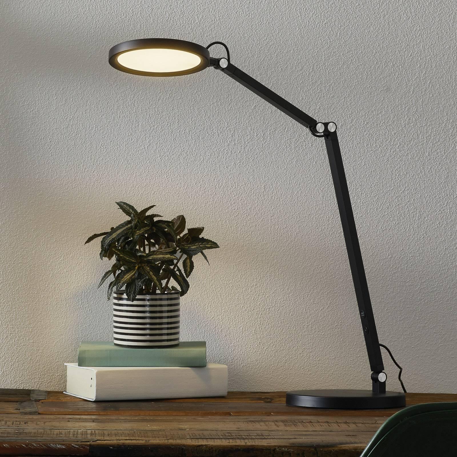 LED-työpöytälamppu Regina himmentimellä, musta