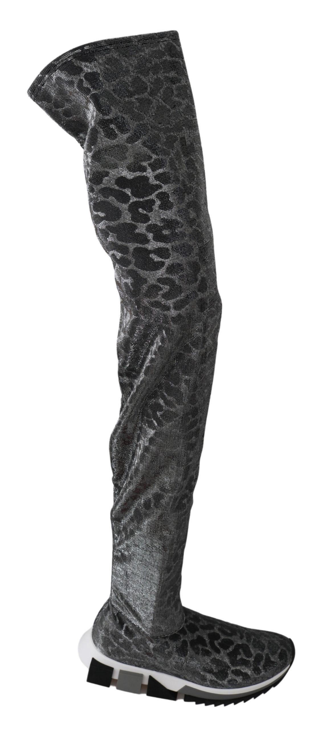 Dolce & Gabbana Women's Leopard High Top Booties Trainer Gray LA6442 - EU35/US4.5