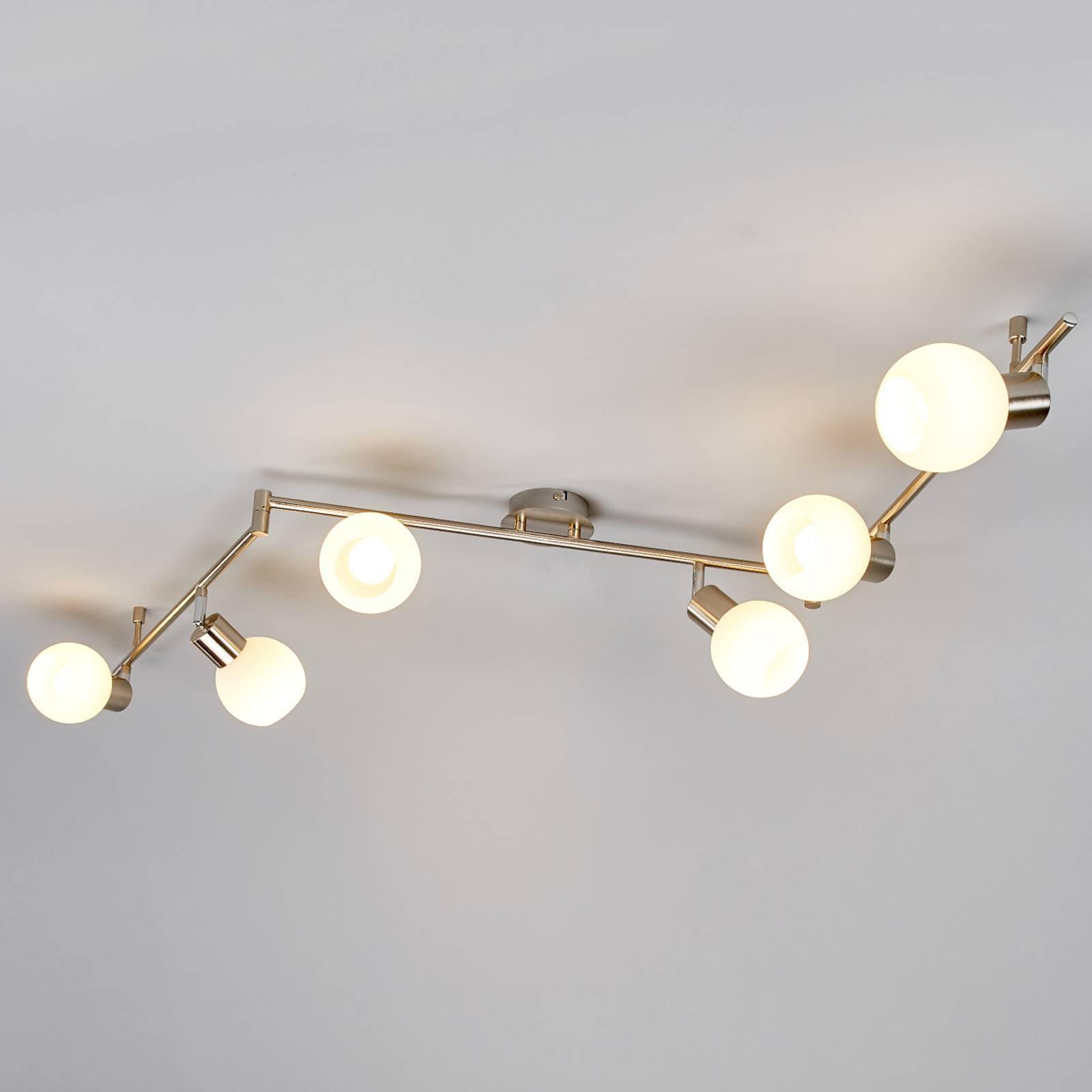 Elaina - LED-taklampe med 6 lys, matt nikkel