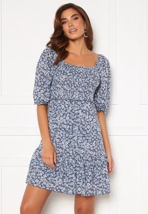 ONLY Pella S/S Smock Dress Vintage Indigo/Flora XL