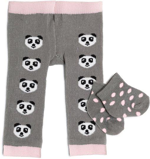 Skrållan Dukkeklær Tights og Sokker Panda, Grå/Rosa