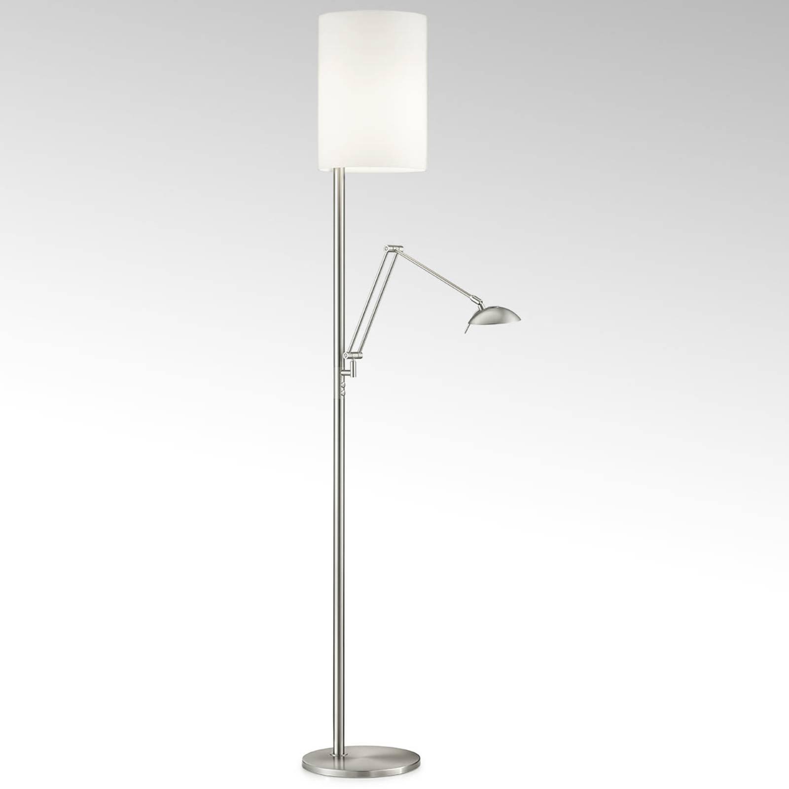LED-gulvlampe Nola, matt nikkel