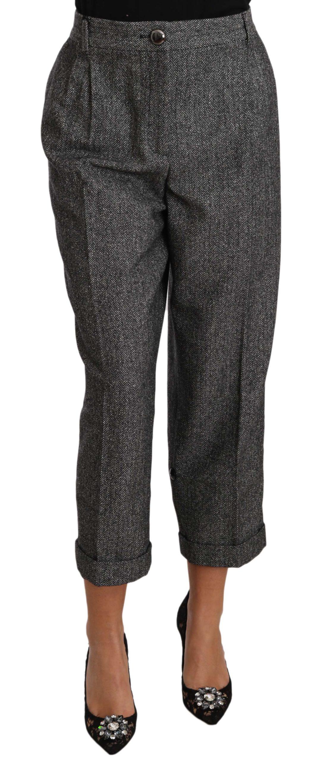 Dolce & Gabbana Women's Wool Pleated Cropped Trouser Pink PAN70266 - IT48 XXL
