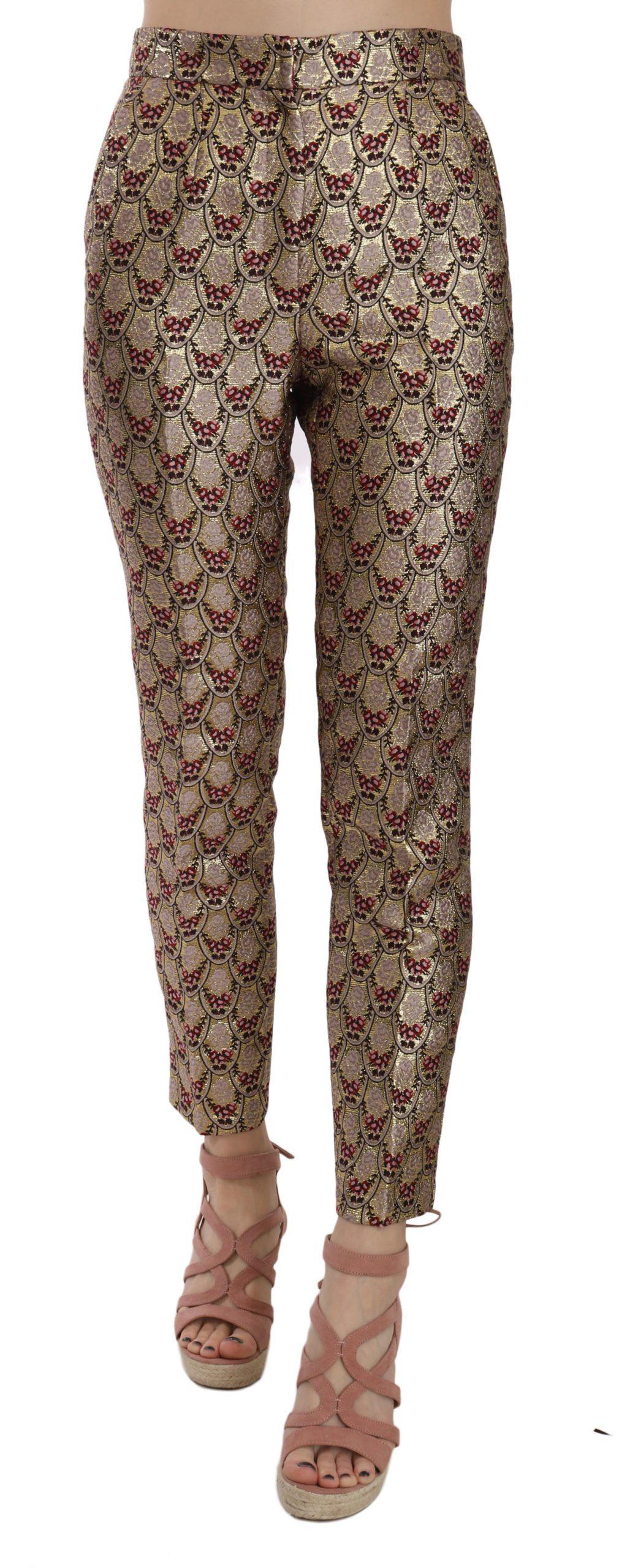 Dolce & Gabbana Women's Jacquard Metallic Tapered Trouser Gold PAN70031 - IT38|XS