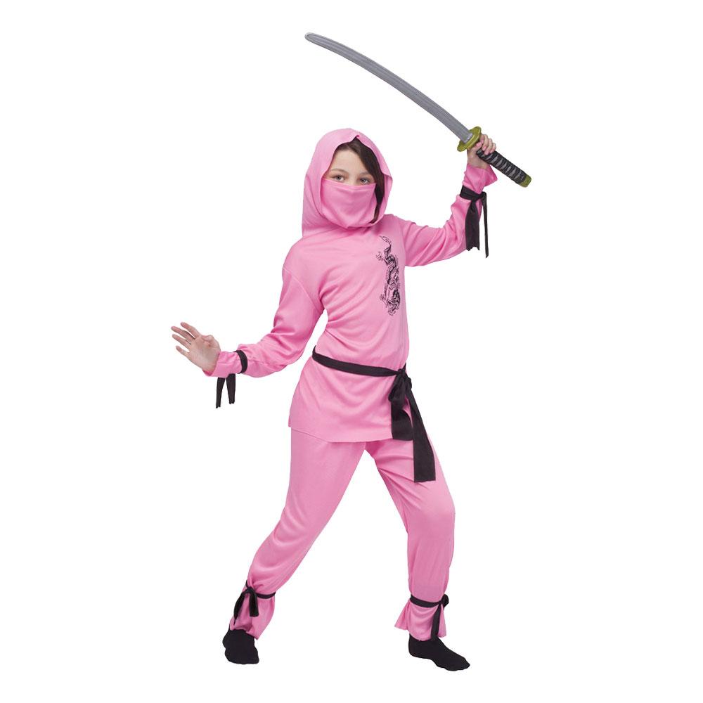 Rosa Ninja Barn Maskeraddräkt - Small