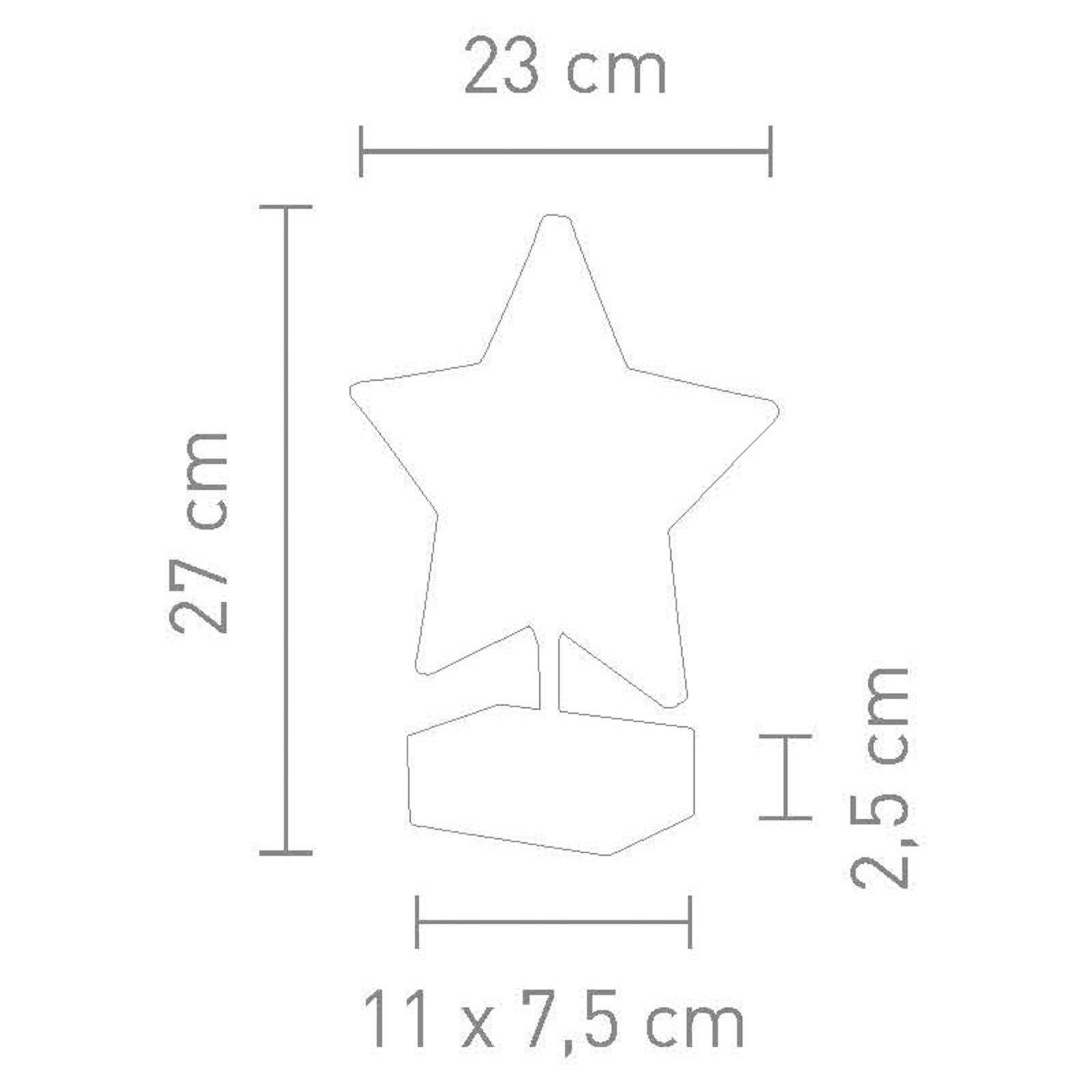 Bordlampe Stella i stjerneform, høyde 27 cm, rød