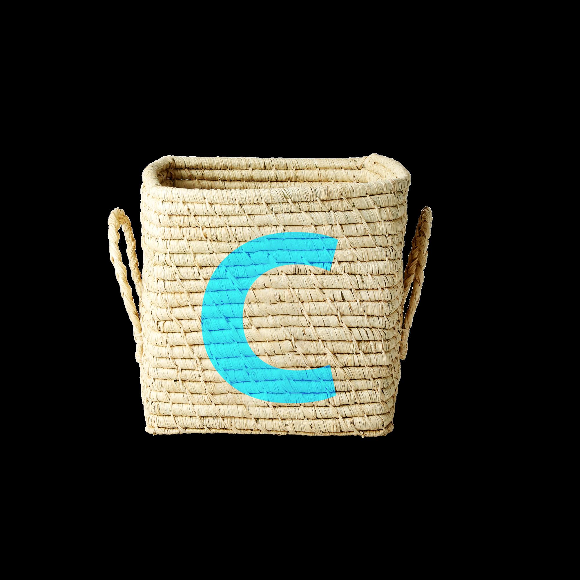 Rice - Raffia Square Basket w. Painted Letter - C