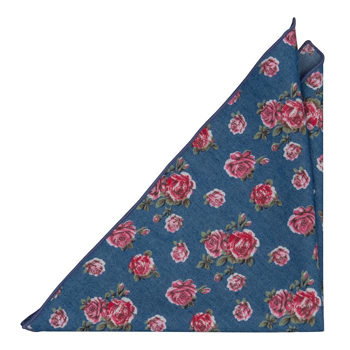 Bomull Lommetørkler, Denimblått med røde og rosa roser, Blå, Blomster