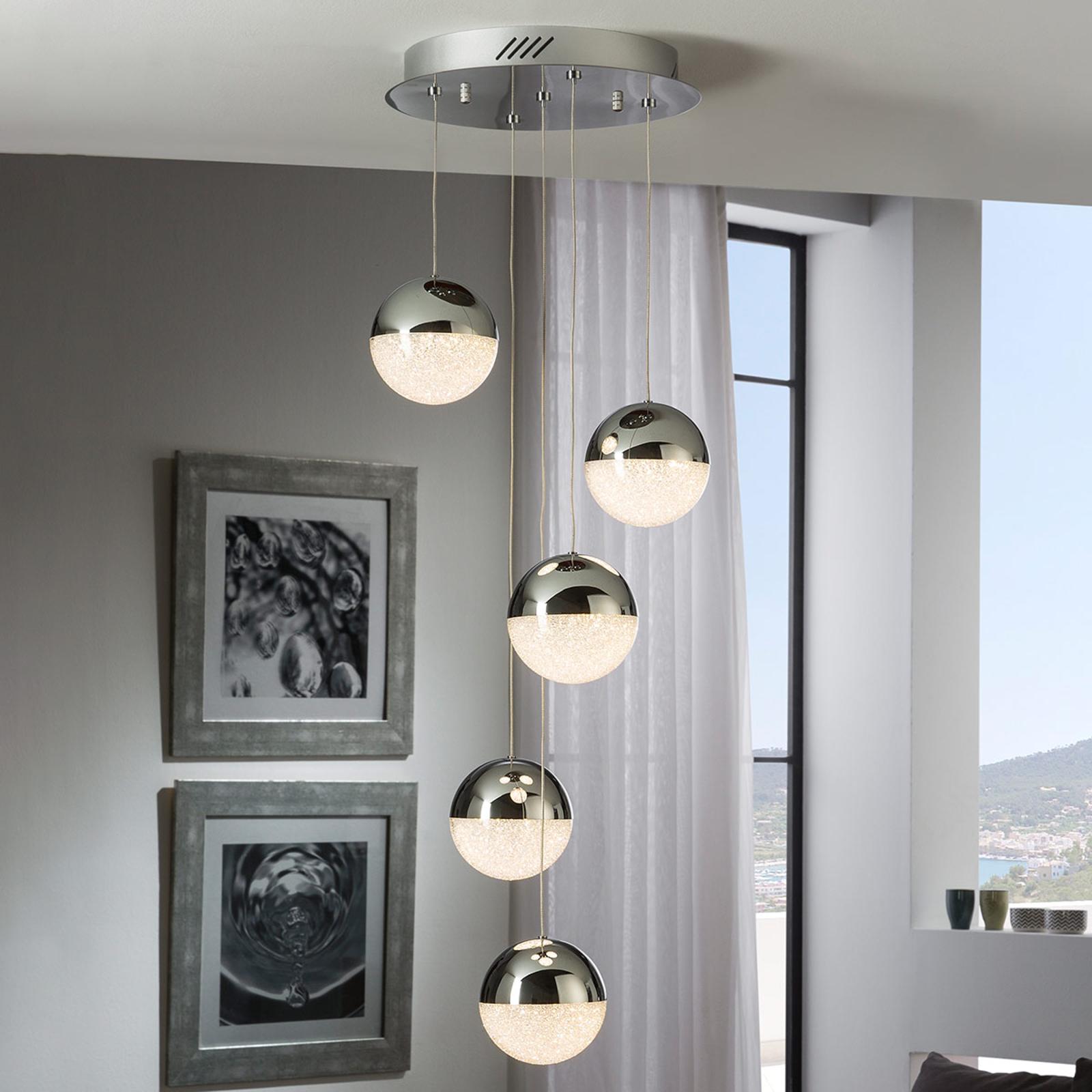 LED-riippuvalaisin Sphere, 5-lamppuinen, kromi