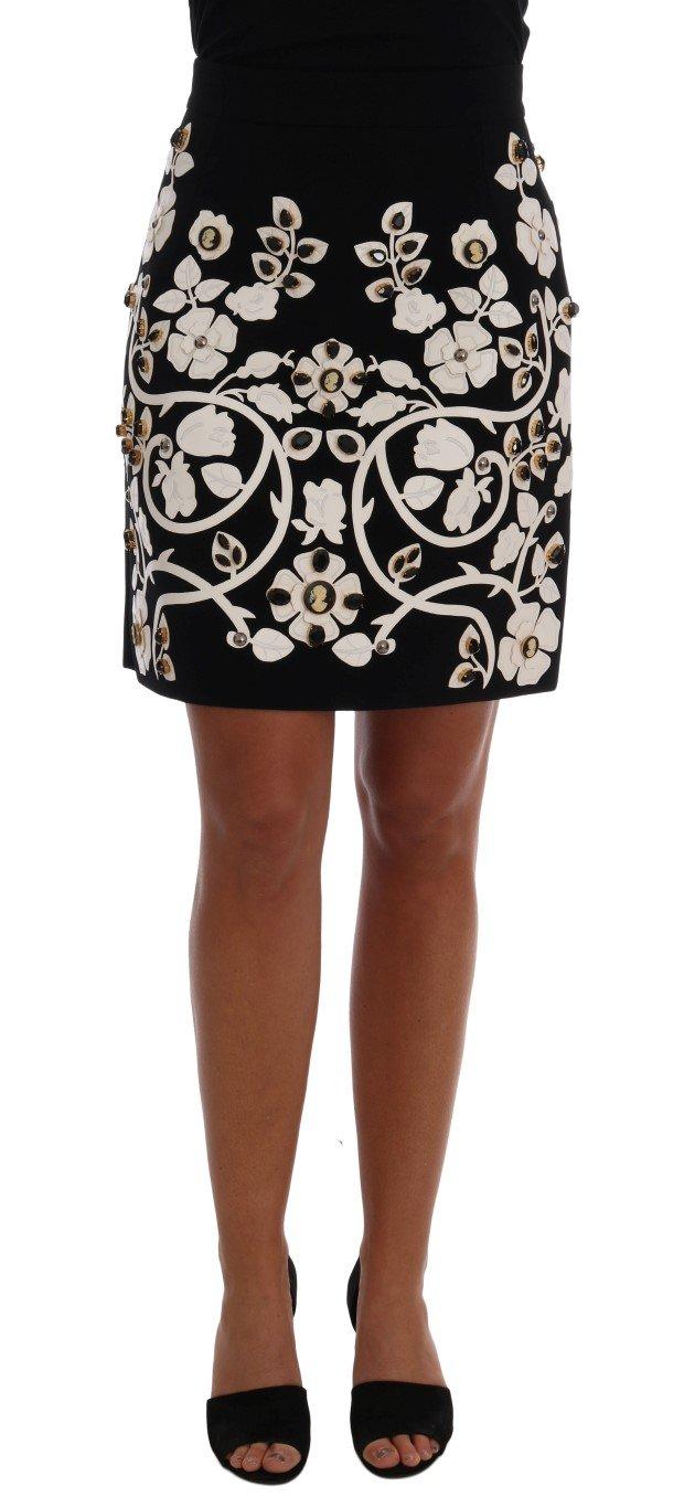 Dolce & Gabbana Women's Crystal Floral Pencil Skirt Multicolor SKI1085 - IT38 XS