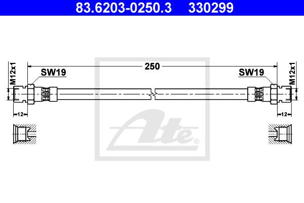 Jarruletku ATE 83.6203-0250.3